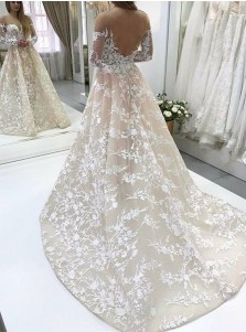 A-Line Illusion Bateau Long Sleeves Backless Ivory Lace Wedding Dress