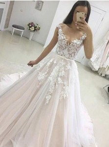 A-Line Illusion Bateau Cap Sleeves Court Train Tulle Appliques Wedding Dress