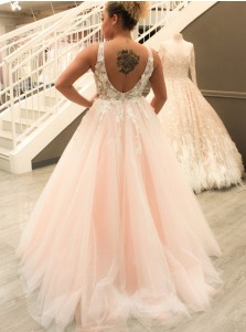 Ball Gown Deep V-Neck Backless Light Pink Tulle Appliques Wedding Dress