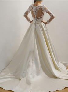 A-Line Square Neck Court Train Satin Wedding Dress with Appliques
