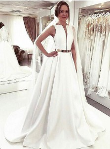 A-Line Bateau Sweep Train Sleeveless Satin Wedding Dress with Belt