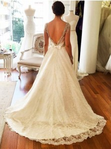 A-Line Scoop Sweep Train Lace Wedding Dress with Beading