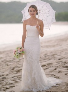 Mermaid Sweetheart Sweep Train Beach Tulle Wedding Dress with Appliques