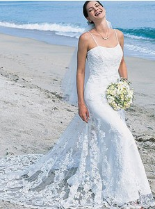 Mermaid Spaghetti Straps Court Train Lace Wedding Dress
