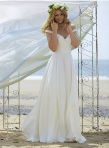 A-Line Off the Shoulder Chiffon Beach Wedding Dress