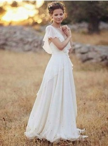 A-Line V-Neck Chiffon Beach Wedding Dress with Appliques Ruffles