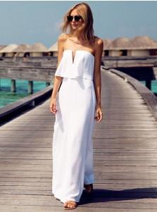 A-Line Strapless Floor Length Elastic Satin Wedding Dress