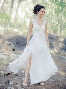 A-Line V-Neck Sweep Train Chiffon Beach Wedding Dress with Lace