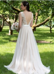 A-Line Round Neck Sweep Train Tulle Beach Wedding Dress with Appliques