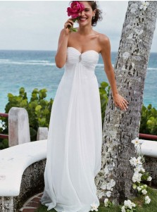 A-Line Sweetheart Chiffon Beach Wedding Dress with Beading