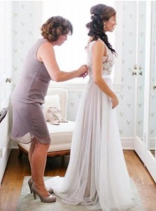 A-Line Round Neck Sweep Train Ivory Tulle Beach Wedding Dress