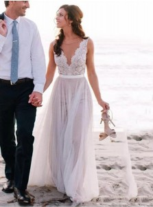 A-Line Round Neck Sweep Train Ivory Tulle Beach Wedding Dress