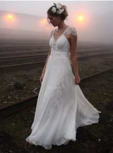 A-Line V-Neck Cap Sleeves Chiffon Wedding Dress with Appliques Bowknot