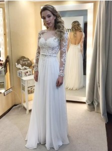 A-Line Bateau Long Sleeves Chiffon Wedding Dress with Appliques
