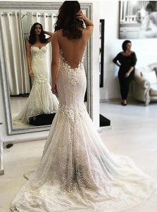 Mermaid Illusion Neck Sweep Train Lace Wedding Dress with Appliques