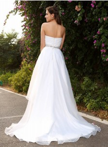 A-Line Sweetheart High Low Chiffon Wedding Dress with Beading