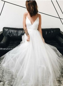 A-Line V-Neck Sweep Train Tulle Simple Wedding Dress