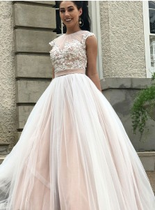 A-Line Round Neck Open Back Tulle Wedding Dress with Appliques Beading