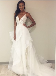 A-Line V-Neck Court Train Tulle Wedding Dress with Lace