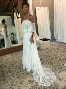 A-Line Off-the-Shoulder Lace Wedding Dress with Ruffles