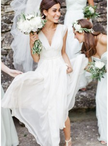 A-Line V-Neck Floor Length Pleated Chiffon Wedding Dress