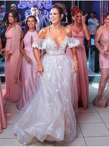 A-Line Cold Shoulder Lace Wedding Dress with Ruffles Appliques