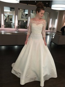 A-Line Off-the-Shoulder Satin Wedding Dress with Lace