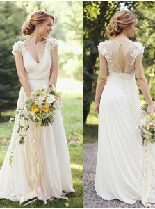 A-Line V-Neck Ivory Chiffon Wedding Dress with Lace Appliques