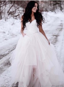 A-Line Spaghetti Straps Asymetrical Wedding Dress with Lace
