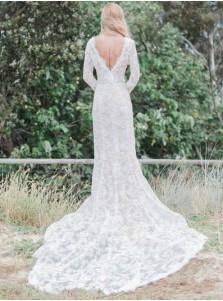 Mermaid V-Neck Long Sleeves Lace Wedding Dress