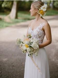 A-Line One Shoulder Pleats Chiffon Wedding Dress with Apliques