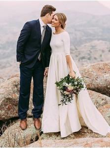 A-Line Round Neck Half Sleeves Satin Wedding Dress