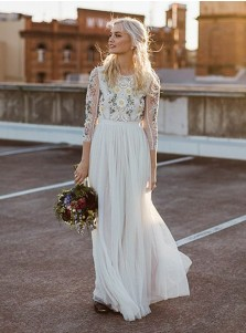 A-Line Round Neck Long Wedding Dress with Lace Long Sleeves