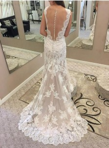 Mermaid Round Neck Illusion Back Lace Wedding Dress with Appliques