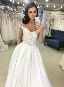 A-Line Off-the-Shoulder Satin Long Wedding Dress with Lace Pockets