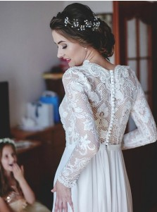 A-Line V-Neck Sweep Train Chiffon Wedding Dress with Lace Sleeves