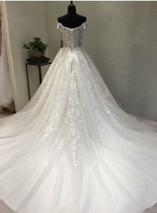 A-Line Off-the-Shoulder Short Sleeves Wedding Dress with Appliques