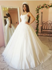 Ball Gown Square Neck Court Train Wedding Dress with Appliques