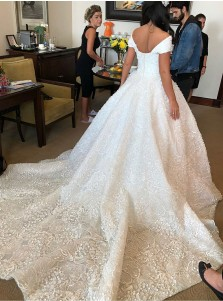 Ball Gown Off-the-Shoulder Court Train Lace Wedding Dress with Sequins