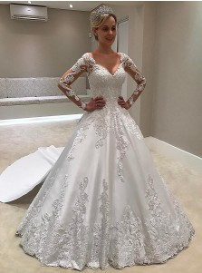 A-Line Deep V-Neck Court Train Long Sleeves Ivory Satin Wedding Dress with Appliques