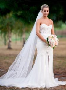 Mermaid Sweethear Sweep Train Wedding Dress with Lace