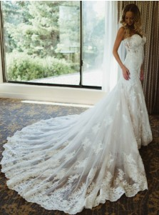 Mermaid Sweetheart Court Train Wedding Dress with Lace Appliques