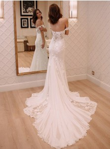Sheath Off Shoulder Court Train Chiffon Wedding Dress with Lace Appliques