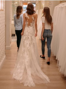 A-Line Bateau Court Train Tulle Wedding Dress with Lace Appliques