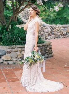 Sheath Bateau Sweep Train Open Back Cap Sleeves Lace Wedding Dress