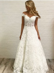 A-Line Off-the-Shoulder Floor Length Lace Wedding Dress