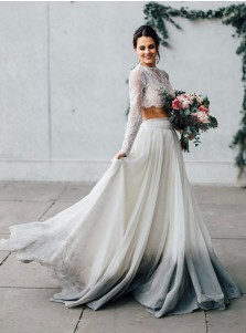 Two Piece Jewel Grey Dyed Chiffon Wedding Dress with Long Sleeves