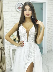 Sheath V-Neck Low Cut Detachable Train White Lace Wedding Dress with Split