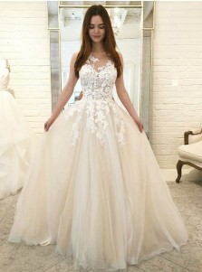 A-Line Round Neck Champagne Tulle Wedding Dress with Appliques