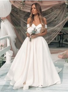 A-Line Off-the-Shoulder Court Train Pleated Satin Wedding Dress